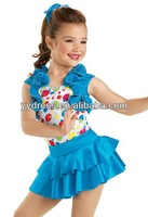 Fabulous and Fun Leotard With Tiered Stretch Satin Skirt For Stage Dancing Girl