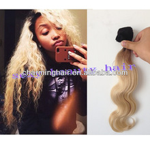 6A 1b/613# dark root ombre two 2 tone color hair weft remy Brazilian virgin hair body wave 100% human hair extensions