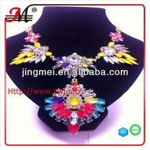 NK4646 New arrival colorful glass statement necklaces pendants jewlery wholesale 2014