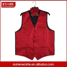 100% Polyester Middle East Red Color Waistcoat For Men Design