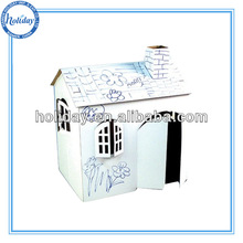 Kids paintable cardboard house,children handmade paper furniture
