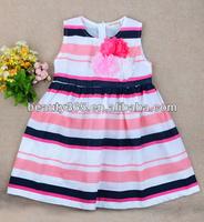 Cheap cotton casual baby girls 2014 Cute Stripe sleeveless summer dress design patterns kids Wholesale