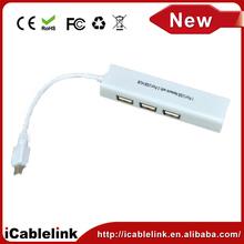 Plugable USB 2.0 to 10/100/1000 Gigabit Ethernet LAN Network Adapter,Mini USB to Ethernet ports + 3 port USB Hub for mac &pc