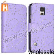Glittery Diamond Maple Leaf Flowers Pattern Card Slot Flip Leather Case for Samsung Galaxy S5 I9600