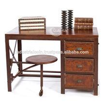 Vintage Industrial Wood and Metallic Study Table