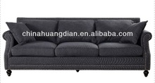 Black fabric relax 3 seater sofa dimensions HDS622-1