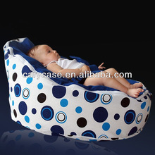 Blue polka circle dots with dark blue harness top European standards baby bean bag chair , with 2 top covers