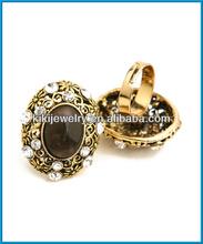 wholesale antique bronze big stones diamonds setting vintage designs for women ring