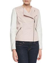 Soft smooth lamb skin Color block Motorcycle Jacket, Pink/White Sexy Premium Genuine Leather Jacket - XS S M L XXL XXXL XXXXL