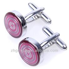 Custom made logo Epoxy metal wedding pink Round Cufflink