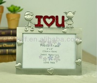 Sweet heart I LOVE YOU High-grade metal crafts antique tin zinc alloy crystal photo frame funny picture frame