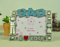 wholesale Household metal crafts I LOVE YOU Dad letter zinc alloy antique silver funny kids photo frame picture frame
