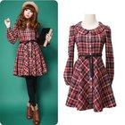 Wholesale Plus Size Autumn Clothing 2014 Girls Fashion Cute Preppy Style Plaid Peter Pan Collar Long Sleeve Knee-length Dress