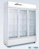 Three door glass display showcase/drink refrigerator/beer cooler
