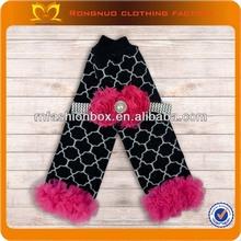 Wholesale baby item knitted geometric designer baby girls legging black cotton children leg warmer