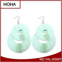 New Fashion Green Fabric Dangle Earrings Jewelry