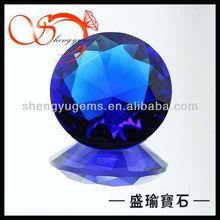 China bulk loose Blue glass round stones(GLRD0011730)