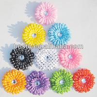 silk gerbera polka dot rhinestone center artificial daisy flowers for headbands