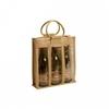 three carriers jute wine bag