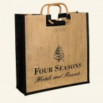 jute tote bag with wooden handle promotional bag