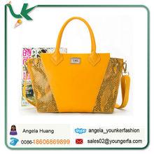 wholesale designer branded Lemon Yellow Snake Leather Tote Bag for Ladies