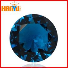 Hot sale sea blue glass stones round cut glass loose gemstone China glass stone