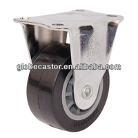 1.5 inch fixed black color PU material caster wheel/small swivel caster/wheel caster