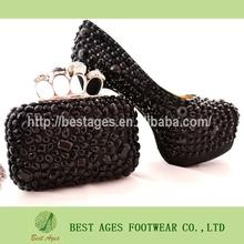 2014 Black diamante gem crystal high heel shoes with maching evening bag