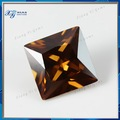 Atacado gemas sintéticas cz pedras, brilhante corte quadrado marrom solta cúbicos de zircônia cz gemas