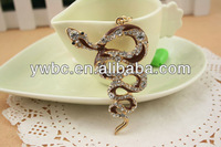 New 2014 gold plated brown snake all types of crystal keychains for women(YS166 004)