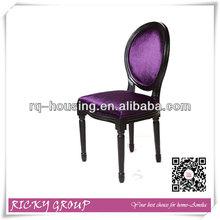 Purple velvet wood dining chair/restaurant chair