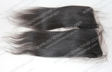 Top quality 12'' natural color light yaki straight lace closure with PU in stock