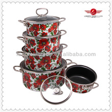 5pcs enamel cookware with stainless steel handle