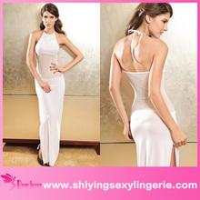 Fashion Wholesale Chiffon Evening Dress With Rhinestone White chiffon maxi dresses
