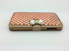 Handmade diamond pu leather cell phone case