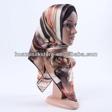 2014 gros foulards de soie arc - en - brown mode hijab brunei