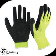 10 gauge hi-viz yellow polycotton liner coated black latex safety gloves