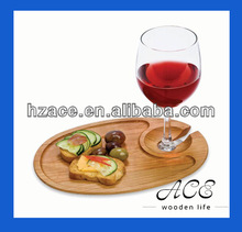 Wooden Serving Tray Solid Wood Glass Tray for Party