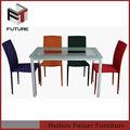 moderna de vidro top mesa de ferro quadrado colorido e cadeira set