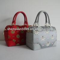taiga pure leather with silk bags noble Fashionabe new design fashion noval handbags