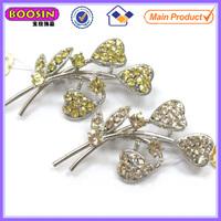Long flower rhinestone brooch for wedding invitations #5888