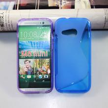 case mobile phone S-line TPU Case for HTC M8 mini Wave Curve Gel Cover