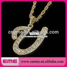 Fashion Crystal Rhinestones Initial Alphabet Pendant for Necklaces Letter U