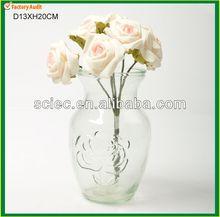 Rose engraving design glass vases for decoration