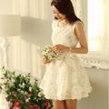 plus size atacado novo em 2014 coreano roupas da moda meninas elegante floral impressão vestido sem mangas bola vestidos de baile