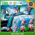 4 unids poliéster 3d rosa lotus de lino de la impresión juego de cama