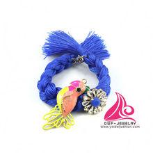New Arrival Crystal Flower Enamel Bird Blue Cotton Rope Hyderabadi Bangles