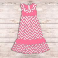 Pink chevron Mix dress long chevron ruffled dresses