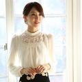venta al por mayor nuevo otoño 2014 de moda dama elegante encaje delgado de hojaldre manga larga de gasa camisetas más el tamaño de corea del sur de prendas de vestir
