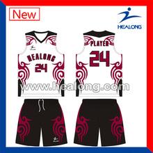 lucky bird pattern customized designs basketball jerseys red